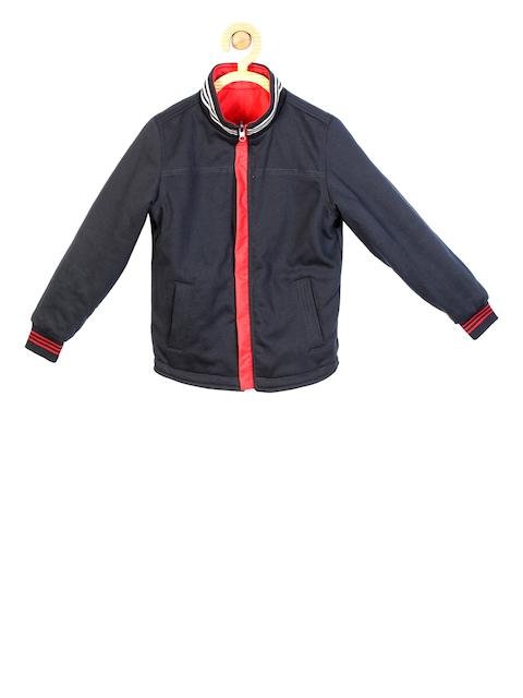 Allen Solly Junior Boys Black Solid Open Front Jacket