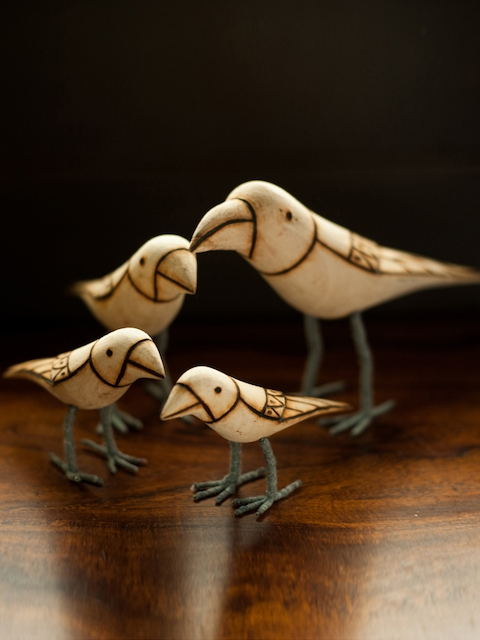 ExclusiveLane Set of 4 Brown & Beige Bird Family Showpieces