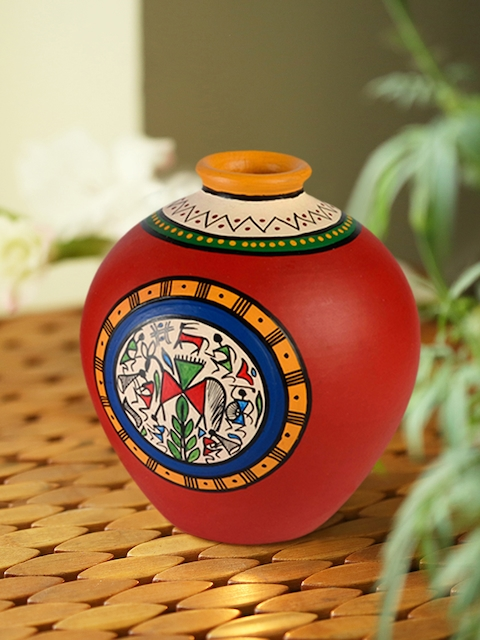 ExclusiveLane Red Warli Handapinted Terracotta Vase