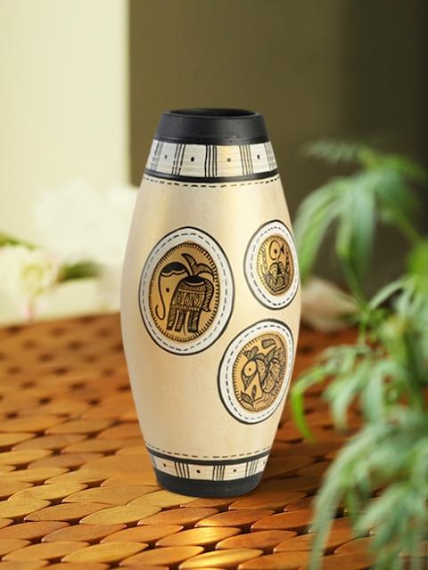 ExclusiveLane Gold Madhubani Handapinted Terracotta Vase