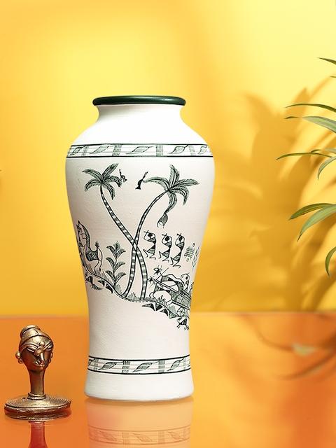 ExclusiveLane White Warli Handpainted Terracotta Vase