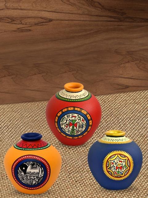 ExclusiveLane Set Of 3 Warli & Madhubani Handpainted Terracotta Vase