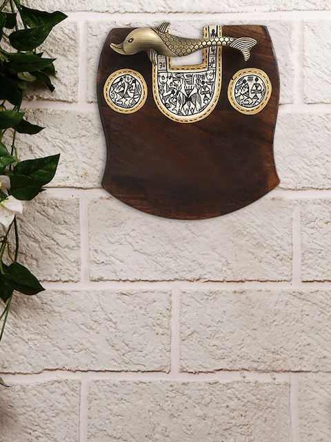 ExclusiveLane Brown Wooden Plain Name Plate With Warli & Dhokra Art