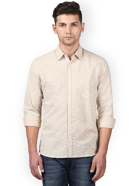 Parx Men Beige Slim Fit Printed Casual Shirt