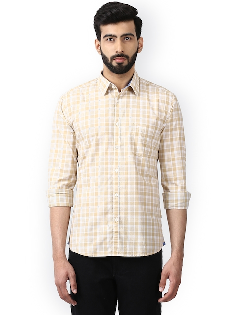 Parx Men Beige Slim Fit Checked Casual Shirt