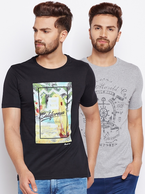 Monte Carlo Pack of 2 Printed Round Neck T-shirts