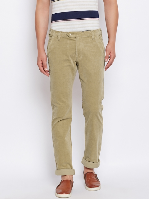Monte Carlo Men Khaki Corduroy Regular Fit Solid Trousers