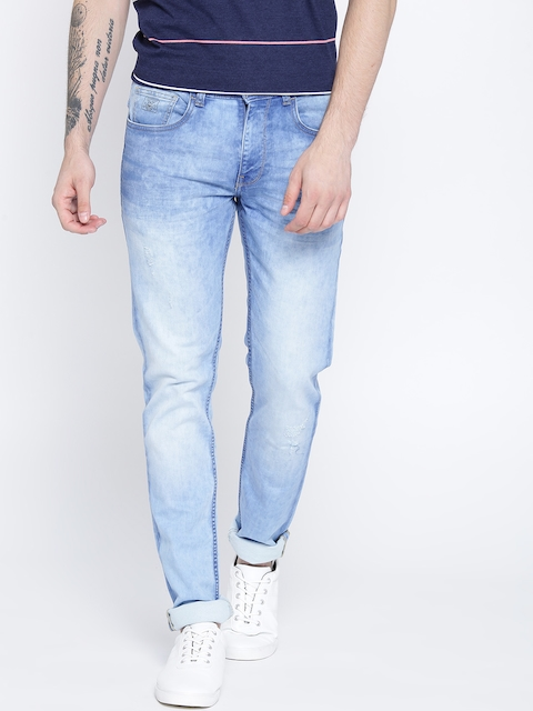 Monte Carlo Men Blue Narrow Skinny Fit Low-Rise Low Distress Stretchable Jeans