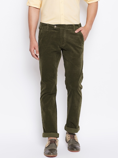 Monte Carlo Men Olive Green Regular Fit Solid Corduroy Trousers