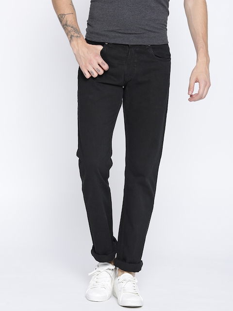 Monte Carlo Men Black Narrow Straight Fit Mid-Rise Clean Look Jeans