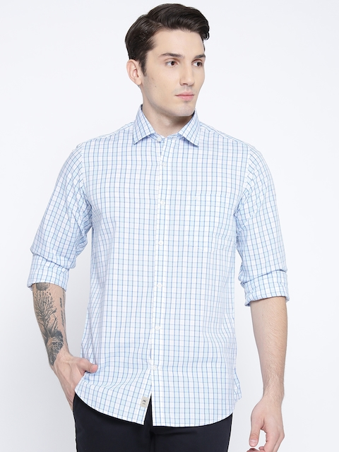 Monte Carlo Men Blue & White Regular Fit Checked Casual Shirt