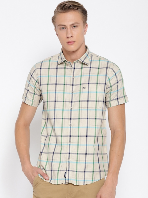 Monte Carlo Men Beige & Green Regular Fit Checked Casual Shirt