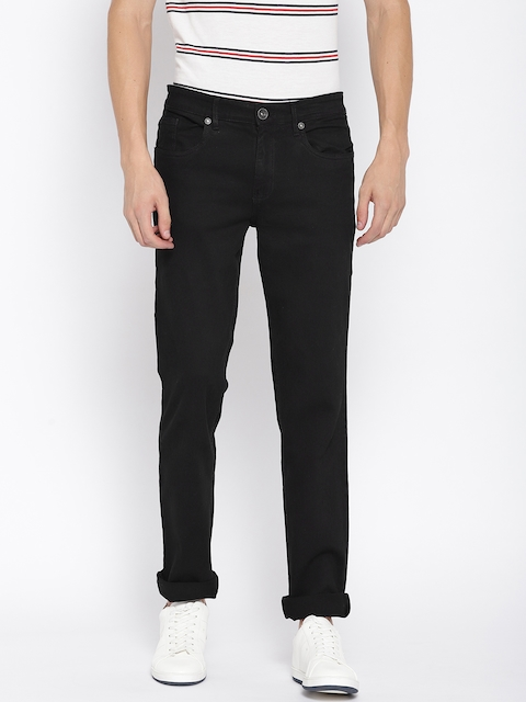 Monte Carlo Men Black Narrow Skinny Fit Low-Rise Clean Look Stretchable Jeans