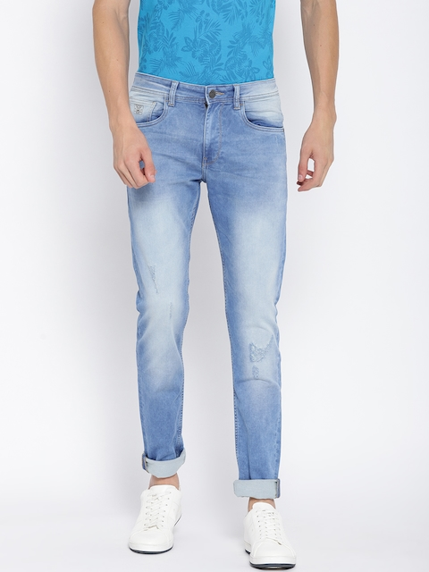 Monte Carlo Men Blue Skinny Fit Low-Rise Low Distress Stretchable Jeans