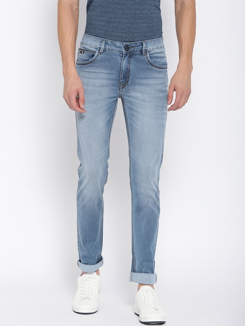 Monte Carlo Men Blue Narrow Skinny Fit Low-Rise Clean Look Stretchable Jeans