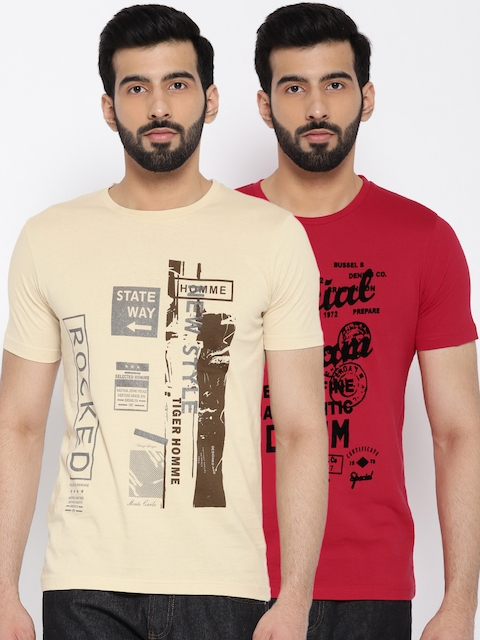 Monte Carlo Men Pack of 2 Printed Round Neck T-shirts