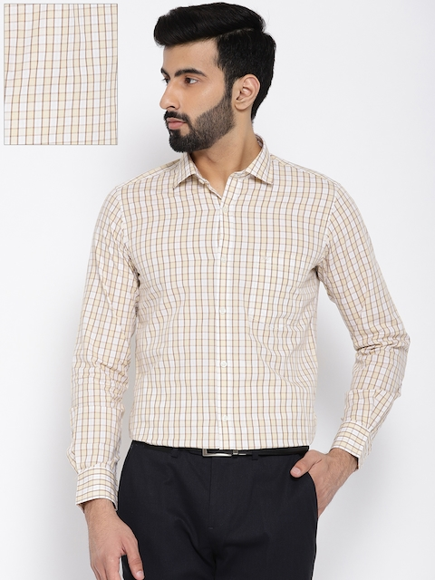 Monte Carlo Men Beige & White Tailored Fit Checked Formal Shirt
