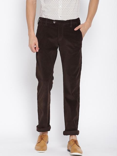 Monte Carlo Men Coffee Brown Slim Fit Solid Corduroy Trousers