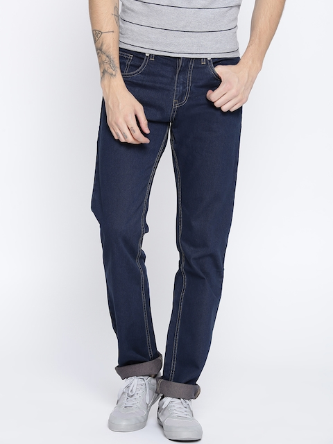Monte Carlo Men Navy Blue Narrow Straight Fit Mid-Rise Clean Look Jeans