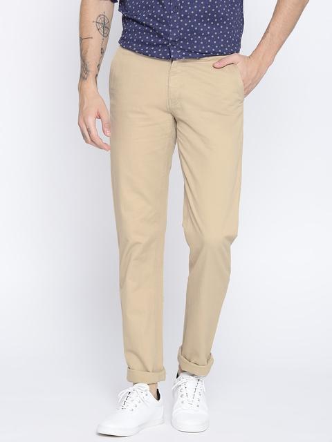 Monte Carlo Men Beige Smart Regular Fit Solid Trousers