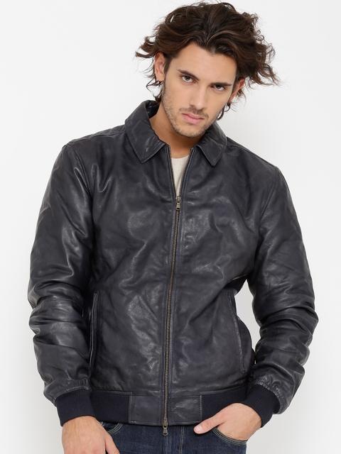 BARESKIN Men Blue Leather Jacket