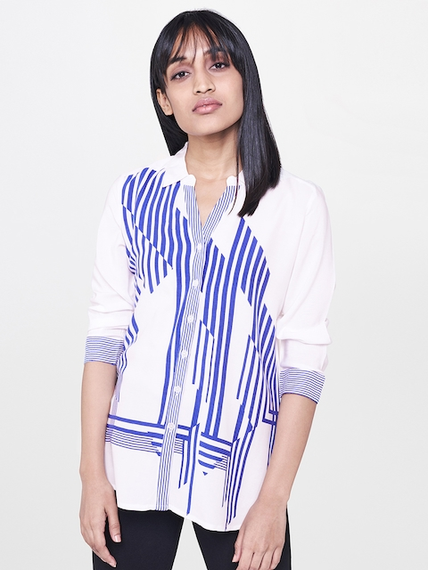AND Women White & Blue Regular Fit Striped Casual Shirt