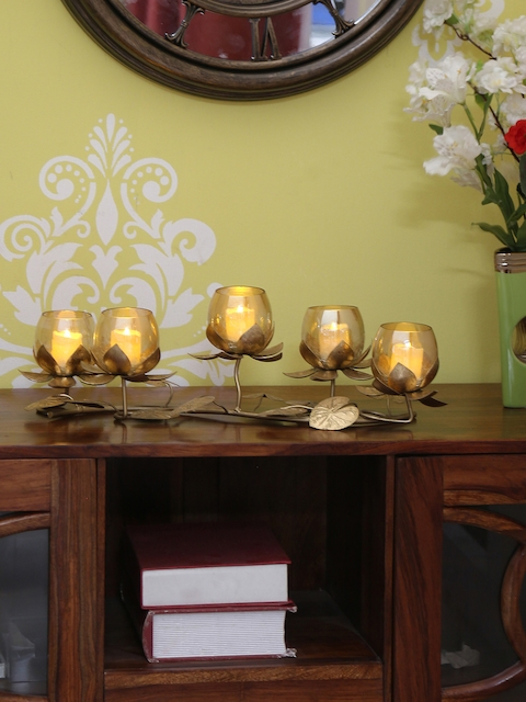 Athome by Nilkamal Gold Candle Holders