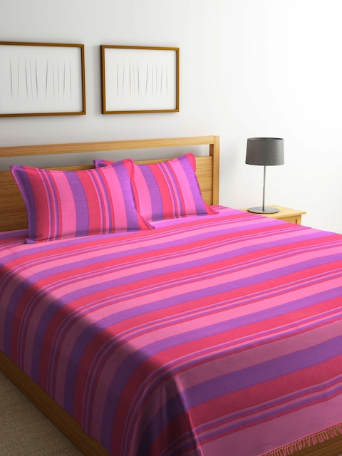 NEUDIS Pink & Purple Striped Double Bed Cover With 2 Pillow Covers