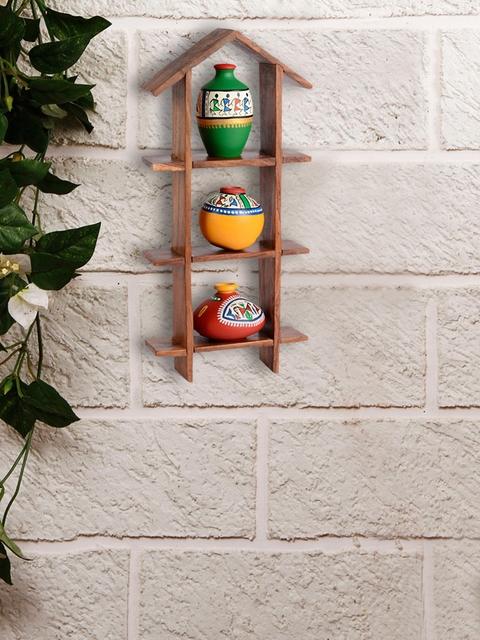 ExclusiveLane Brown Wood Basic Wall Shelf