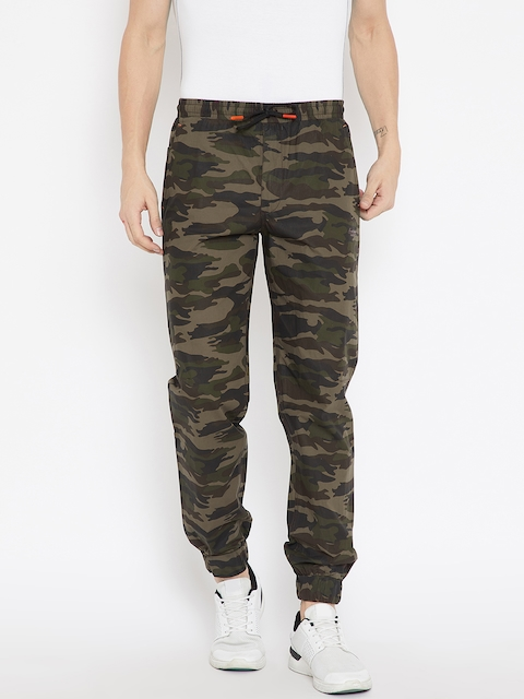 Monte Carlo Men Olive Green & Brown Regular Fit Camouflage Print Joggers