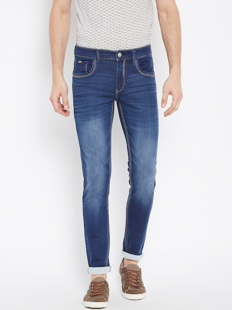 Monte Carlo Men Blue Skinny Fit Mid-Rise Clean Look Stretchable Jeans