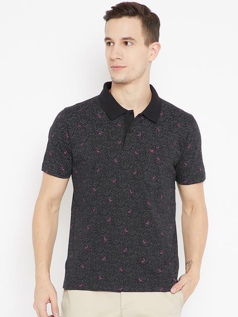Monte Carlo Men Black Printed Polo Collar T-shirt