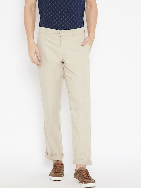Monte Carlo Men Beige Regular Fit Solid Trousers