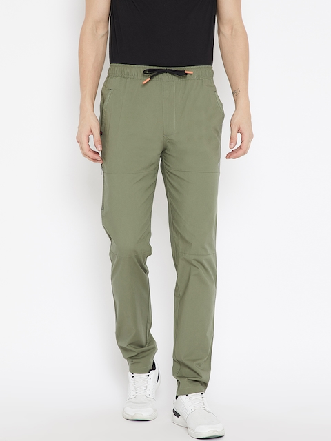 Monte Carlo Men Olive Green Regular Fit Solid Trousers