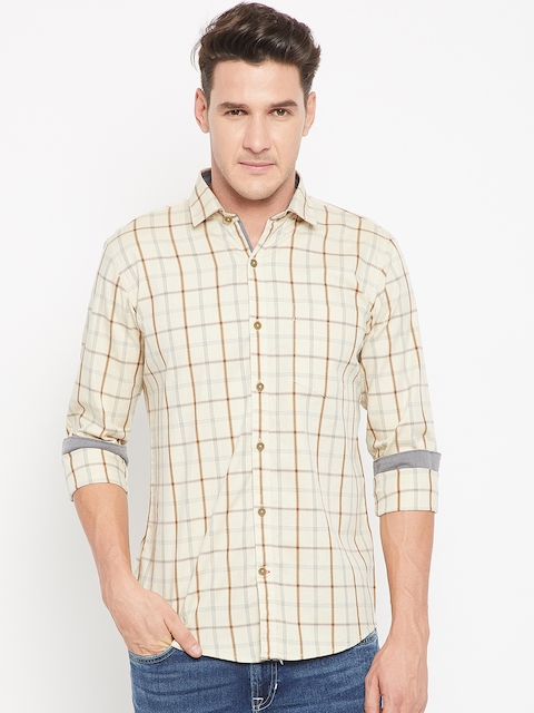 Monte Carlo Men Beige Regular Fit Checked Casual Shirt
