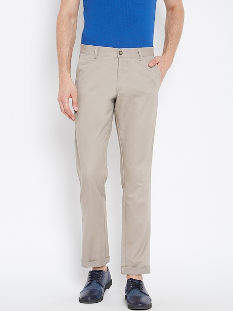 Monte Carlo Men Taupe Regular Fit Solid Trousers