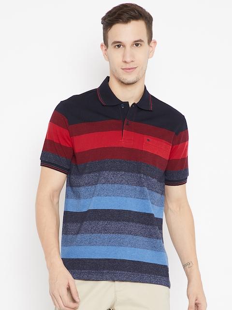 Monte Carlo Men Black & Blue Striped Polo Collar T-shirt