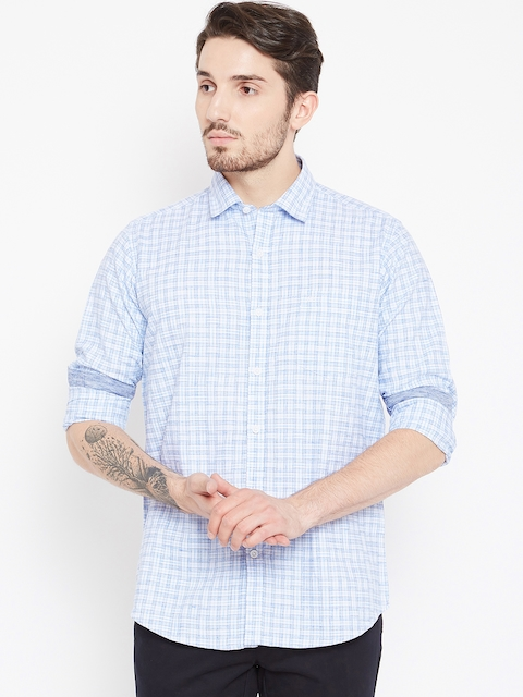 Monte Carlo Men Blue & White Slim Fit Checked Casual Shirt
