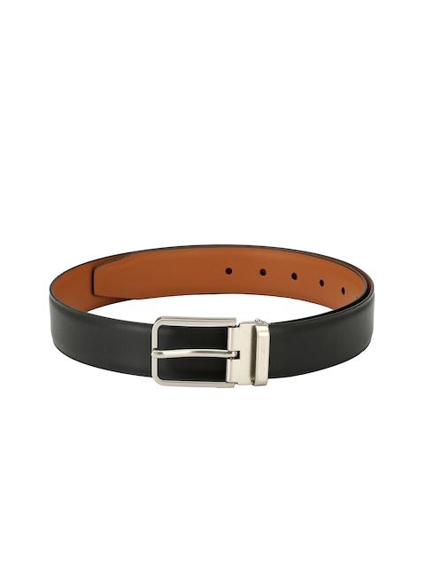Pacific Gold Men Black & Tan Solid Reversible Belt