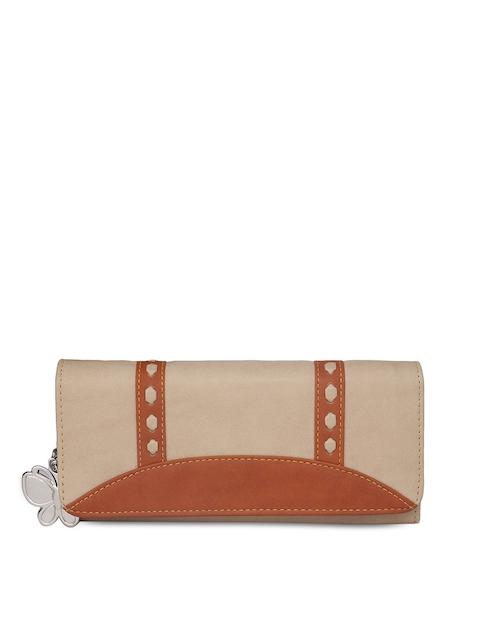 Butterflies Women Beige & Tan Solid Two Fold Wallet