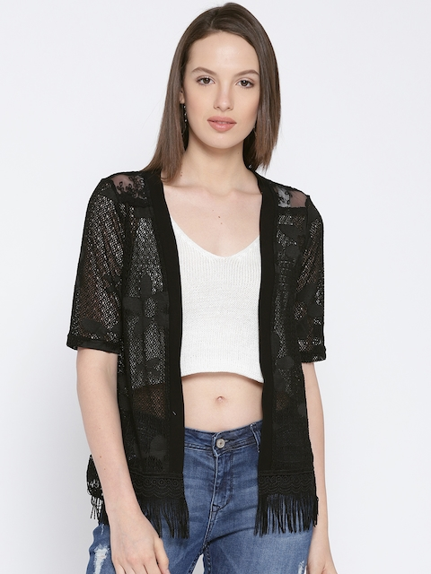 Lee Cooper Black Lace Open Front Shrug