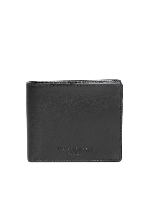 U.S. Polo Assn. Men Black Solid Leather Two Fold Wallet