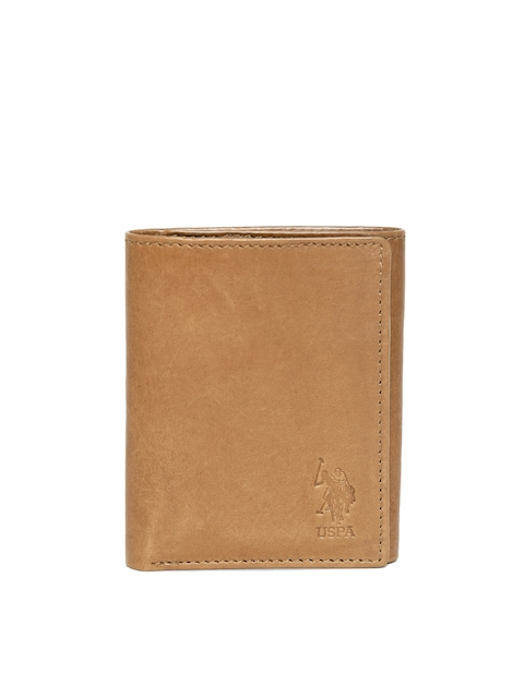 U.S. Polo Assn. Men Tan Brown Solid Leather Three Fold Wallet