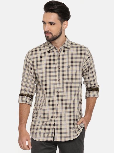 Allen Solly Men Beige & Navy Blue Slim Fit Checked Casual Shirt