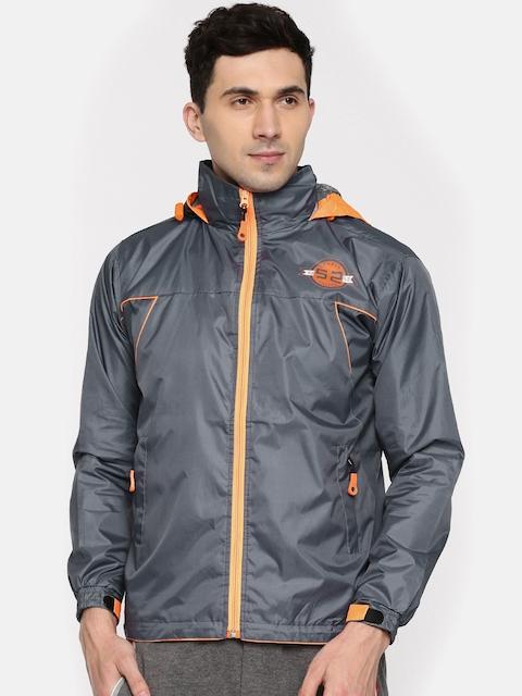 Sports52 wear Grey & Orange Hooded Rain Jacket