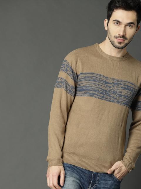 Roadster Men Beige & Blue Striped Pullover