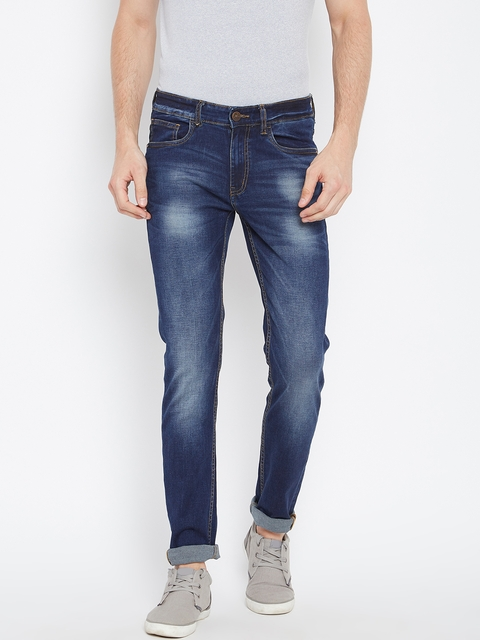 Monte Carlo Men Blue Narrow Fit Mid-Rise Clean Look Stretchable Jeans