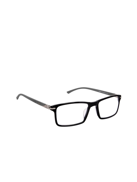 David Blake Unisex Black & Grey Solid Full Rim Rectangle Frames LCEWDB1548LIAN590041