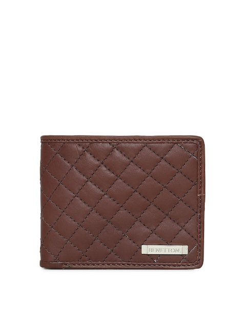 United Colors of Benetton Men Brown Solid Two Fold Wallet