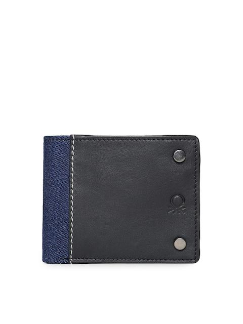 United Colors of Benetton Men Black Colourblocked Two Fold Wallet